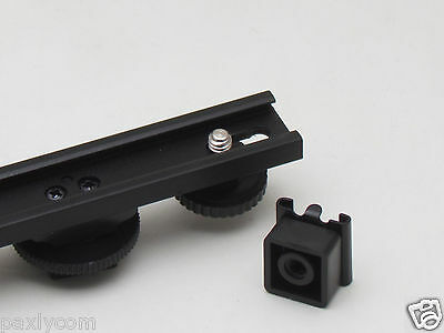 "Camera Dual 1/4"" Screw Bar Bracket Cold Shoe DV Video Extension Light HotShoe"