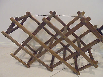 2 x Retro Wooden Wine Rack Brown in colour Expandable folding wine racks 2