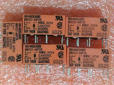 5 Pc Nec Mr602-48Fsr 48Vdc Dpdt 2A 30Vdc 1A 125Vac Pcb Mount Relay Made In Japan