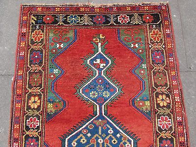 Antique Traditional Hand Made Caucasian Rug Red Green Wool Oriental Rug 142x99cm 2