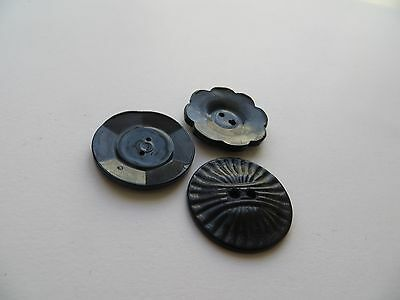 Assorted Art Deco Dk Blue Black Flower Craft Dress Collectible Coat Buttons-29mm