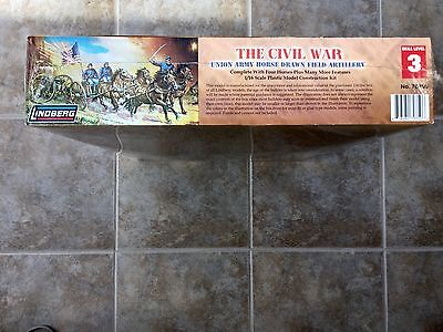 Lindberg 1/16 The Civil War Horse Drawn Artillery W/ 4 Horses & 3 Fig # 70350 Fs