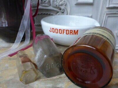 Konvolut alte Apotheker Sachen Tiegel & 3 Flaschen alte Merck antik Glas Flasche 3