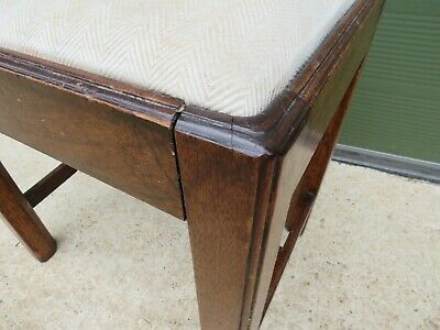 Antique Georgian Oak Footstool Stool with Upholstered Top 4