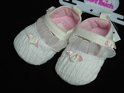 Schuhe Baby Ballarinas Ballerinas Taufe Feier 0- 3- 6- 12 Mon weiß mit Rose 2