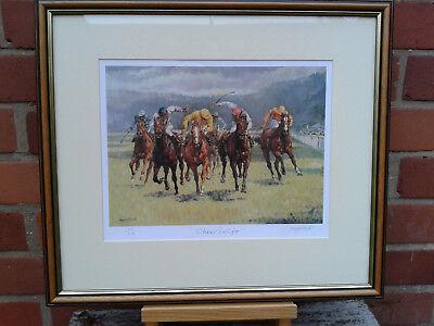 "GICLEE print of my original painting /""Newbury Horse Racing/"" by T.MIKUTEL LTD Ed"