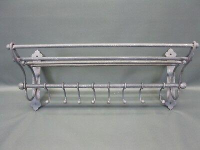 Garderobe  Hutablage  aus Metall  mit beweglichen Haken 53 cm x 22 cm Loft grau 3