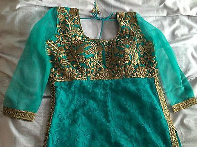 New Indian Asian Turquoise And Gold dress Churidar And kameez 5