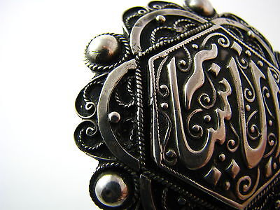 ANTIQUE ARABIC ISLAMIC SILVER BROOCH PIN FILIGREE North Africa Tunisia ca1900's. 6
