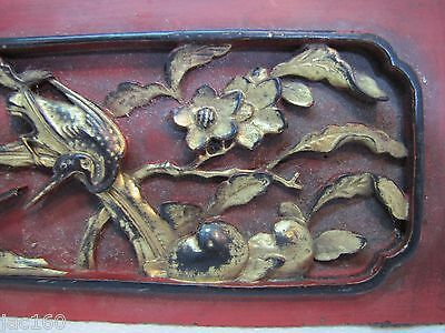 Antique Asian Hand Carved Panel red gold paint flowers birds wall architectural 9