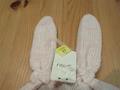 Next Girls Bunny Ears Bow Winter Hat lined Knit 5 - 6 years BNWT Pink Wool Hat 2