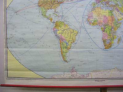 Schulwandkarte schöne alte Weltkarte politische 245x142c vintage world map 1977 5
