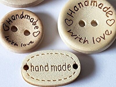 "Natural Wooden Round & Oval ""HANDMADE"" BUTTONS Various Sizes-Crafts-Sewing-Label"