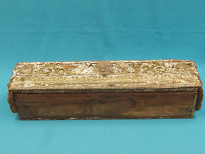 Antique Spanish Colonial Architectural Gold Leaf Carved Wood Panel Conv. Planter 12