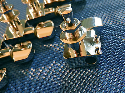 6 Fender Logo Stratocaster / Telecaster TUNERS TUNING PEGS Guitar Chrome 3