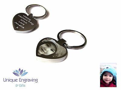 Personalised Photo Text Engraved Heart Keyring Keychain -Great Mothers Day Gift! 2