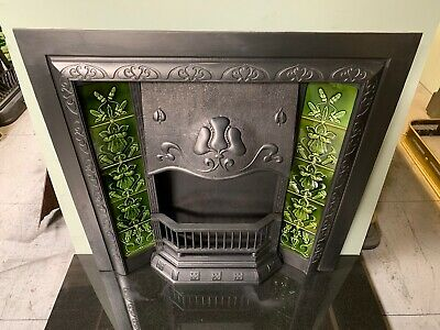 Original Antique Art Nouveau cast iron Fireplace Insert Nouveau Majolica Tiles 8