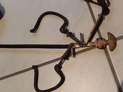 Ungleicharmige Balkenwaage Sackwaage mit Schiebegewicht,  Messing u. Eisen antik 4