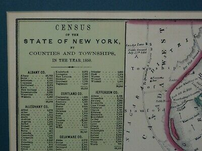 Large 1855 Hand-Colored Cowperthwait Map of New York w Census & Almanac Details! 2