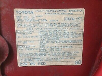 1986 22r Carb Toyota Pickup Truck//4runner Hilux Cal Emissions Decal Repro #81
