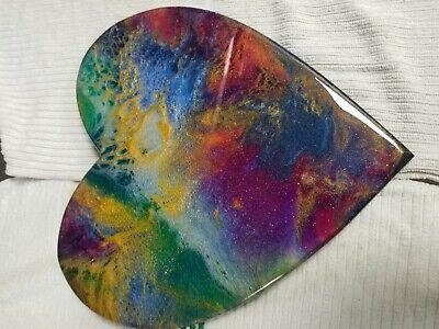 "9"" Resin Heart on Wood - Resin Art - Abstract Art - Resin Painting 10"