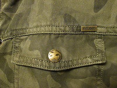 $120 Max Jeans Tencel Camo Olive Khaki Military Style Long Anorak Jacket M NWT