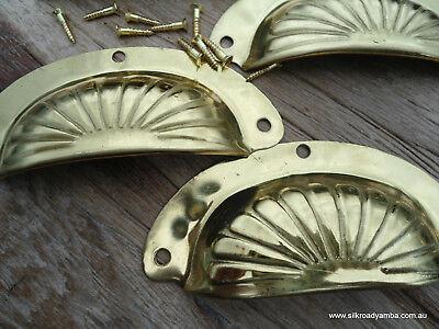 "8 shell handles PULL polished Brass PULL  knob kitchen  pressed 4"" screws B 5"