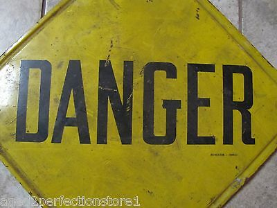 Old Industrial Factory DANGER Metal Sign Stonehouse Denver lipped edge back mnt 2