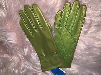 Metallic green goat skin leather gloves by Jeronimo Made in Italy size 8 3