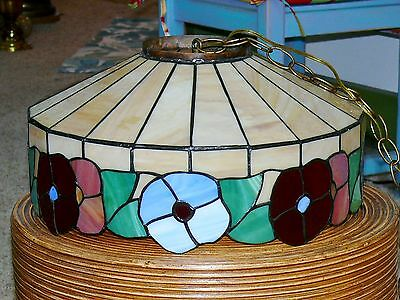 Vintage Slag Stained Glass Shade Flowers Hanging Ceiling Light Fixture Lamp 2