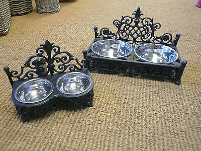 Cast iron Dog bowls / Cat bowl holder ,Stainless steel dishes , Posh pet bowls 3