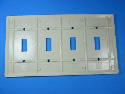 Leviton Ivory Ribbed 4 ganged Switch Cover Plate 2