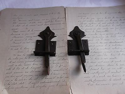 French antique rustic hardware  iron latch lock  c.1900 set of 2 3