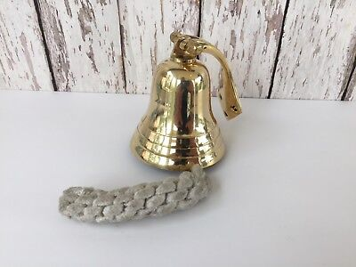 Solid Brass Ship Bell w/ Rope Lanyard & Bracket ~ Hanging Wall Decor ~ Nautical 3
