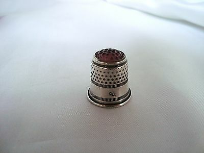 Alter Fingerhut 800 Silber mit lila Glaskopf old silver Thimble / ap 591 3