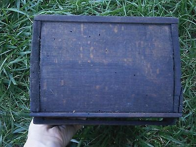 Vintage Antique Wooden Box For Cutlery With Dark Patina 8