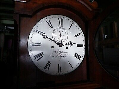 Thomas WILLIAMS OF DOWLAIS 8 DAY SILVERED DIAL WITH FIGURED MAHOGANY CASE 4