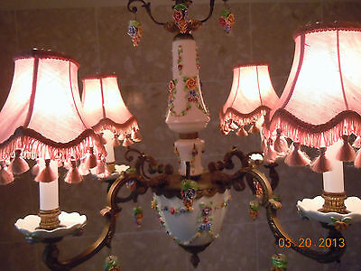 French Porcelain BARBOLA ROSES & SWAGS Chandelier with Hanging Rose Bouquets 12