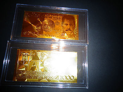 BILL COMES IN ACRYLIC SLAB GIFT HOLDER 24 KARAT GOLD COLOMBIA 20000 pesos