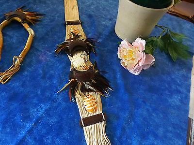 superbe ceinture et collier plumes ,cuir ,nacre, corde  ,style country  a saisir 4