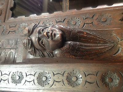 Carved Victorian Oak Library Bookcase Angel Dresser GreenMan LionsHead PussyOak1 10