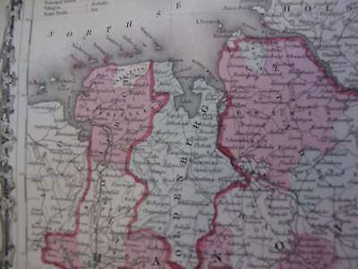 Vintage 1863 Germany Map Hand Colored Berlin Hamburg Bremen German Mecklenburg 3