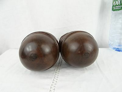 French Antique Architectural Decorative Wood Pair of Curtain-Rod Bed Finials 10