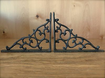 "2 BROWN ANTIQUE-STYLE 7"" CAST IRON SHELF BRACKETS braces garden rustic CLASSIC"
