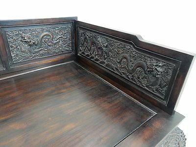 Gorgeous Antique Chinese Qing Dynasty Zitan Day Opium Day Bed 78.5 inches 12