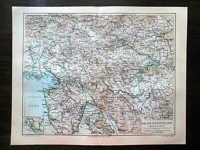 Antique map. AUSTRIAN LITTORAL. CARNIOLA. SLOVENIA. CROATIA. 1905 2