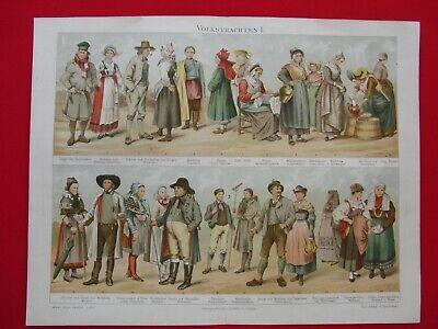 Kunstdruck Chromo Lithografie Volkstrachten Kon.-Lexikon Meyer 1898 Bilder Druck 3