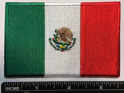 """AMERICAN FLAG & MEXICAN FLAG EMBROIDERED PATCH IRON-ON SEW-ON MEXICO  (3½ x 2¼"""") 3"""
