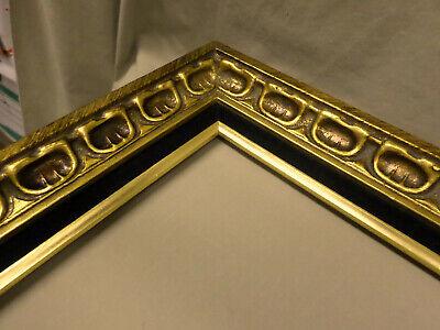 """3212M Vtg 16x20 ORNATE Frame Gold/BLACK VELVET 2 3/4"""" Border EXC COND !! 6"""