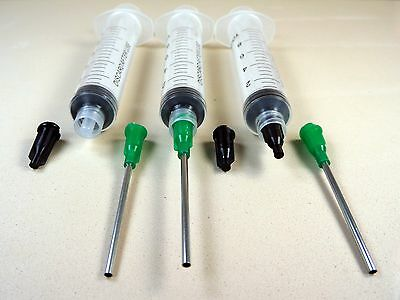 "10 Syringes 10ml w 14 Gauge Tips 1.5"" Caps Dispense E6000 Adhesive Glue Gel LL14"